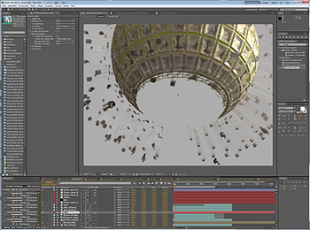 Spheroton theme park ride render being composited in After Effects software