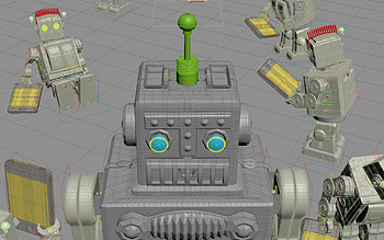 Making of image captured from 3DS Max viewport: the big robot goes past small robots, causing their mobile devices to malfunction