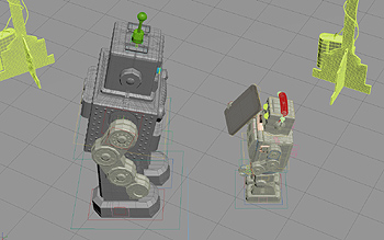 Making of image captured from 3DS Max viewport: a small robot shows his mobile device to the big robot