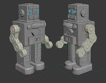 Making of image captured from 3DS Max viewport: the robot model is shown twice from opposite 3/4 angles