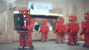 A robot uses his mobile device while in the background other robots line up at the shop to purchase mobile devices