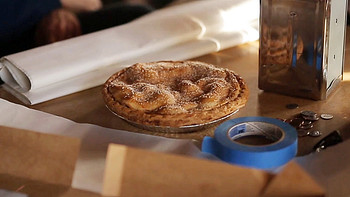 Backstage photo of an apple pie used in Sleepwalk